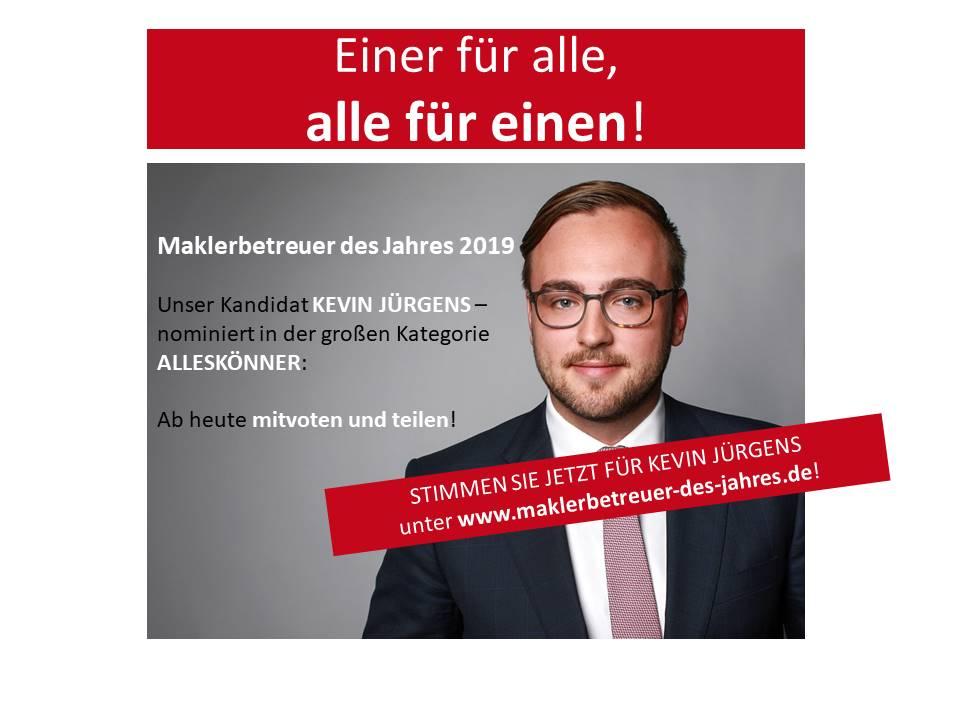 """Mitwählen: Kevin Jürgens im Rennen als """"Bester Maklerbetreuer des Jahres 2019"""""""